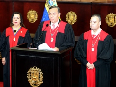 Venezuela's chief justice Maikel Moreno, who now has a US $5 million bounty on his head, addresses the Supreme Court. (@MaikelMorenoTSJ / Twitter)